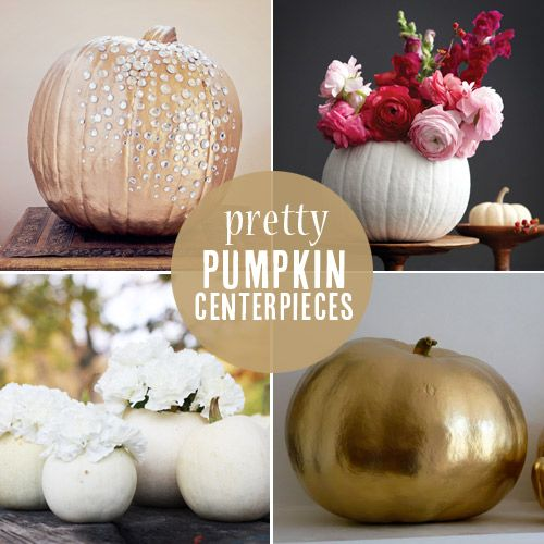 Pretty pumpkin centerpieces from diy projects for White pumpkin table decorations