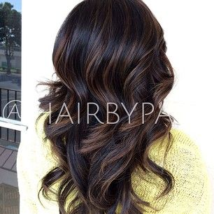 planning on getting a chocolate brown on natural black balayage like this for the wedding!