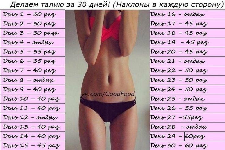 Комплекс упражнений для похудения талия
