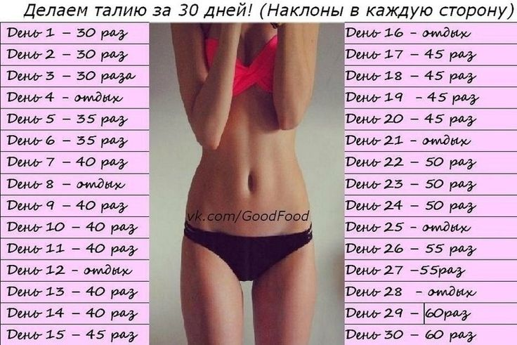 Таблица упражнений 30 дней
