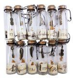 Salomé Idea Small Transparent Mini Glass Jars with Cork Stopper and with Inside Steam Punk Pendants
