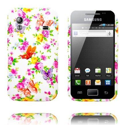 Paradise Garden (Oranssi & Punaiset Perhoset) Samsung Galaxy Ace Silikonisuojus
