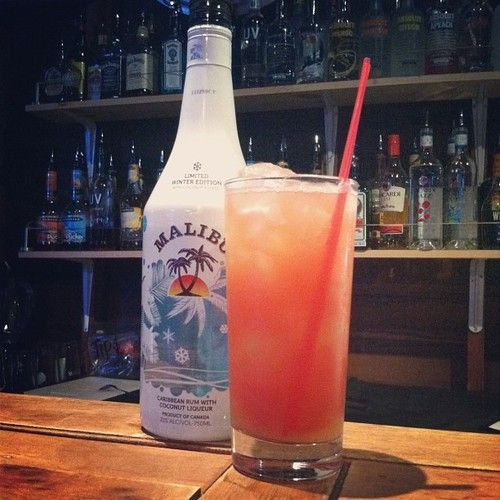 Malibu Bay Breeze Mixed Drink 2 or 3 oz   Coconut Flavored Rum, 2 oz Pineapple Juice, 2 oz Cranberry Juice. In a glass   with ice, add all ingredients. Stir well and serve.