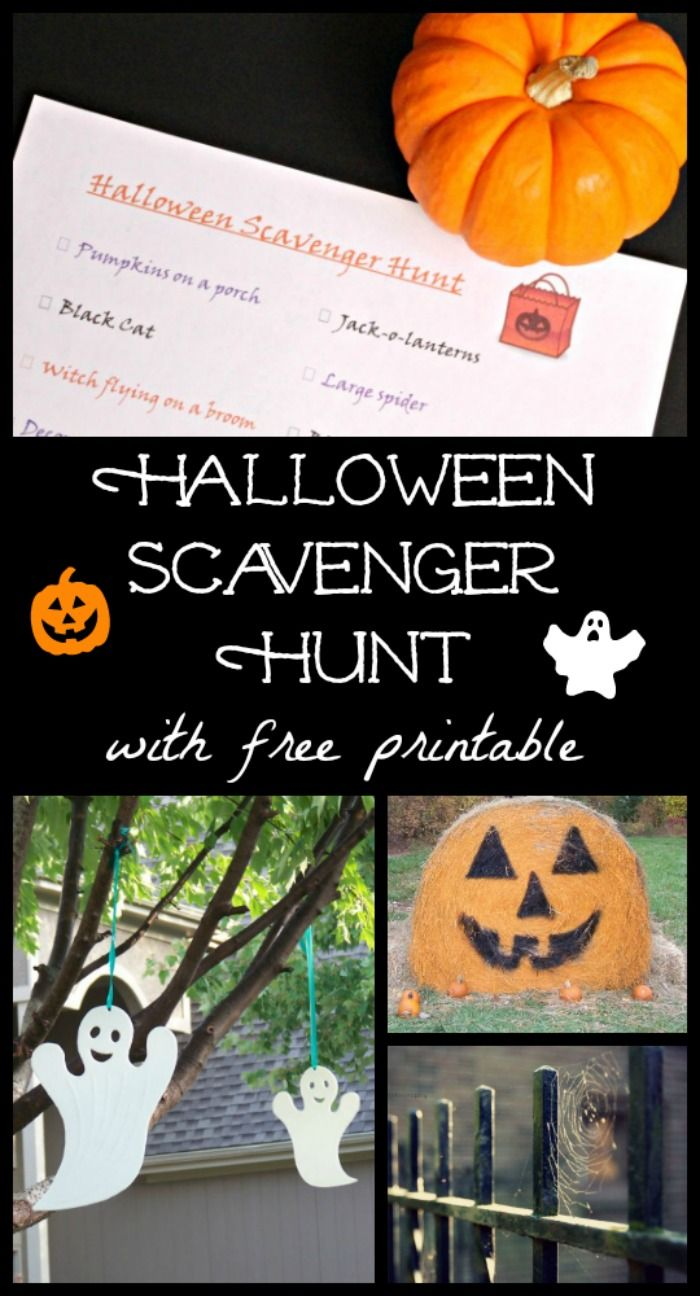 Halloween Scavenger Hunt with free printable - great game for families, class parties or youth groups!