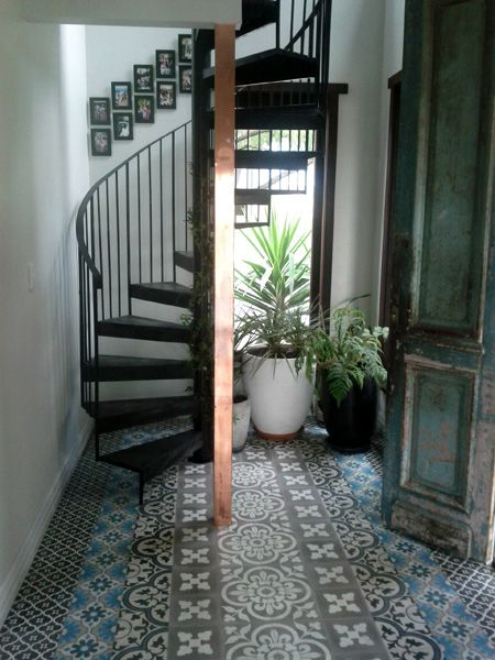 clever use of tiles as a 'rug' - love it!