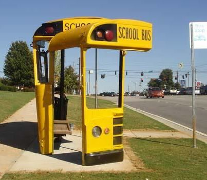 Old bus made into a cool bus stop!