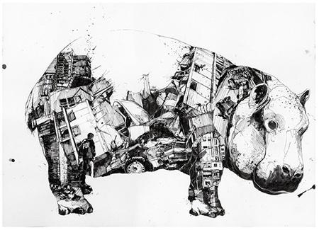 Área Visual: Simon Prades. Ilustraciones de técnica mixta
