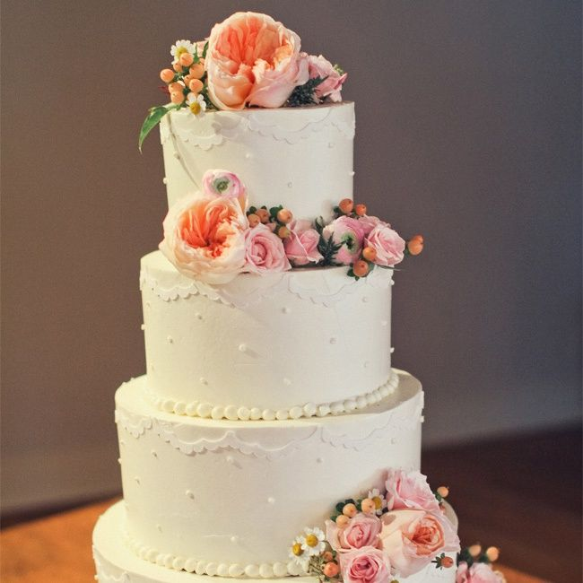 white and peach wedding cakes and white wedding cake beth 27215