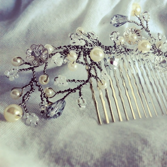 Beaded bridal leaf hair comb by CoiledElm on Etsy, $56.00
