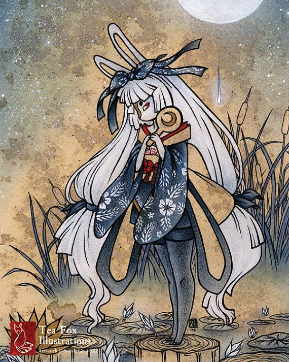 Miri / Moon Rabbit Bunny Yokai / Japanese Asian Style Art / 8x10 Fine Art Print