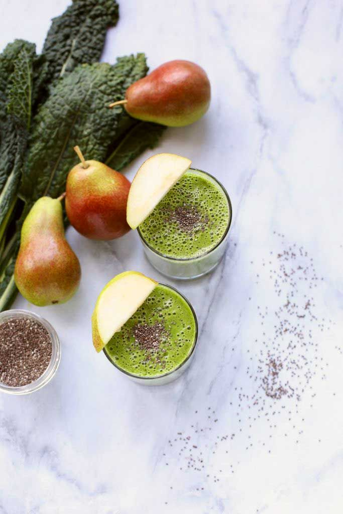 This Green Kale, Pear, and Almond Smoothie contains tons of protein from the almond butter and chia seeds. It will keep you full until lunch for sure.