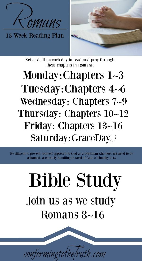 Are you looking for a deep Bible Study? We are working through Romans 8~16. Go! Sig up today!