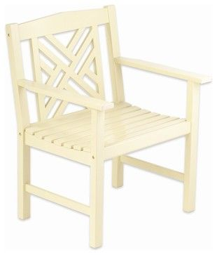 Antique Ivory Fretwork Arm Chair contemporary-outdoor-chairs, from houzz $127