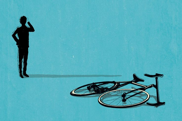 Illustration of a silhouetted person looking at a fallen bicycle by Carlo Giambarresi
