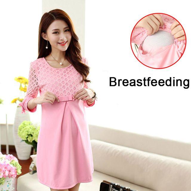 Discount $14.10, Buy Autumn Winter Pregnancy Dress Breastfeeding Maternity Dresses Pink Maternity Blouse Lace Pregnant Women Dresses Nursing Dress