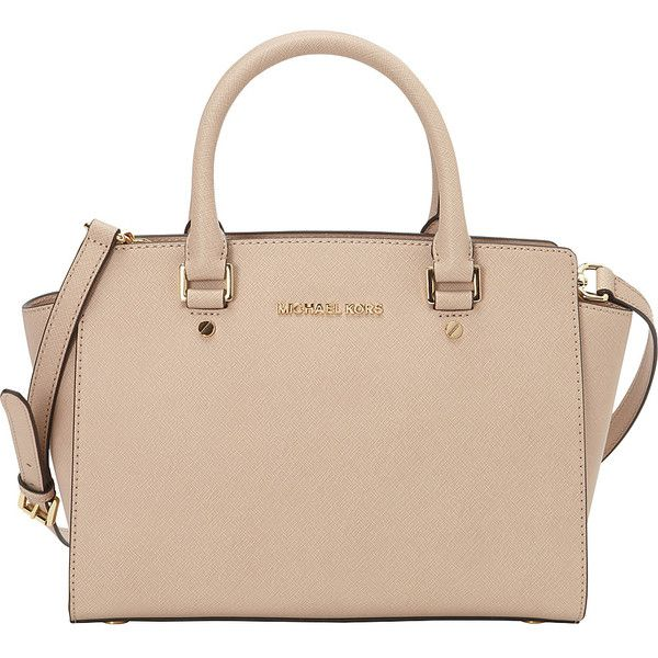 MICHAEL Michael Kors Selma Medium Top Zip Satchel Satchel ($298) ❤ liked on Polyvore featuring bags, handbags, designer handbags, pink, pink purse, michael michael kors, top zip satchel, pink satchel and beige purse