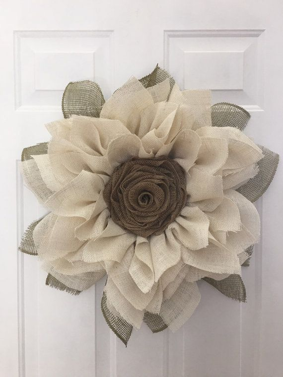 Sunflower Burlap Wreath Ivory Sunflower by JuliesWreathBoutique