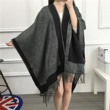 Brand Women Blanket Poncho Scarf Imitated Cashmere Wool Scarf Cape Winter bufandas manta Tartan Fshion Tassel Scarves Big Shawls //Price: $US $15.87 & Up to 18% Cashback on Orders. //     #gifts