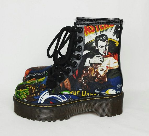Gothic custom boots.Horror vintage films fabric by RockYourSole