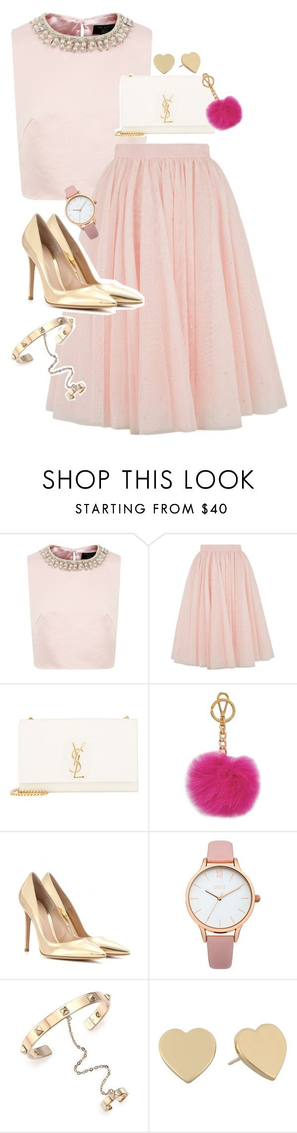 """Pretty in pink"" by prettycatty ❤ liked on Polyvore featuring Ted Baker, Yves Saint Laurent, Michael Kors, Gianvito Rossi, Oasis, Valentino and Kate Spade"