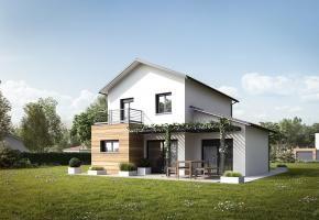 Modèle de maison RT2012 à étage avec suite parentale, garage et terrasse - Mètre Carré