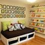 Stratton Daybeds   Three benches/boxes make a twin day bed with storage.  LOVE LOVE LOVE the wall of book shelves too.