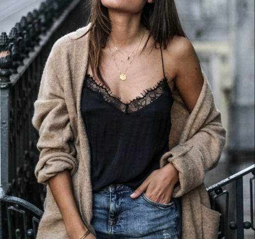Camel & black outfit - Lace trim cami and oversized cardigan sweater