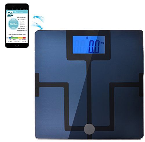 AGPtEK Bluetooth Body Fat Digital Weight Scale for iPhone iPad iPod and Android Smart Phones and Tablets  Measures 8 Parameters Body Weight Body Fat Body Water Muscle Mass BMI BMRKCAL Bone Mass and Visceral Fat  43 backlit LCD Display  High Sensitivity ITO Top CF351BT  Body Composition Analyzer Smart Body Analyzer * You can find out more details at the link of the image.