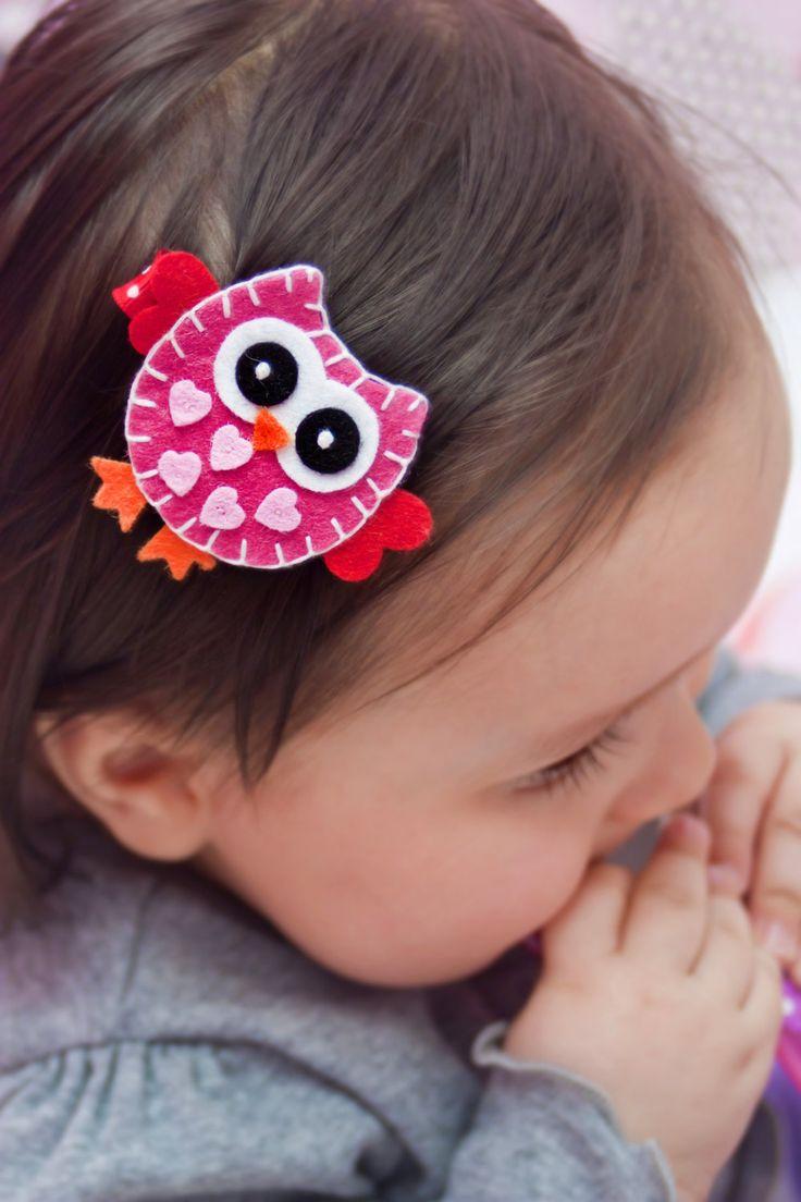 Heart Owl Hair Clip, Baby Hair Clippies, Girl Barrette, Owl Hair Clippie. $4.00, via Etsy.