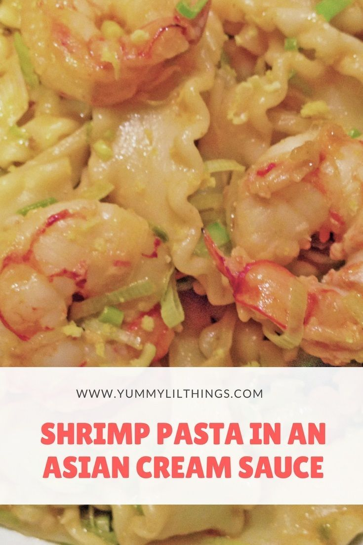 This shrimp pasta in an Asian cream sauce infuses unique flavors into a traditional dish with ingredients like coconut milk, ginger, and soy sauce. #pasta #shrimprecipes #creamy #shrimppasta #asianpastasauce