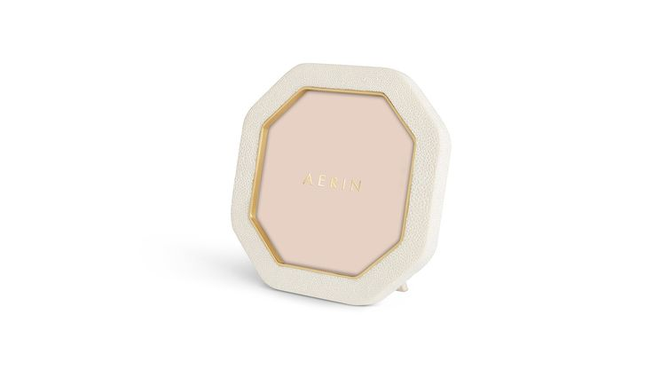 AERIN, Cream Shagreen Octagonal Photo Frame - LuxDeco.com