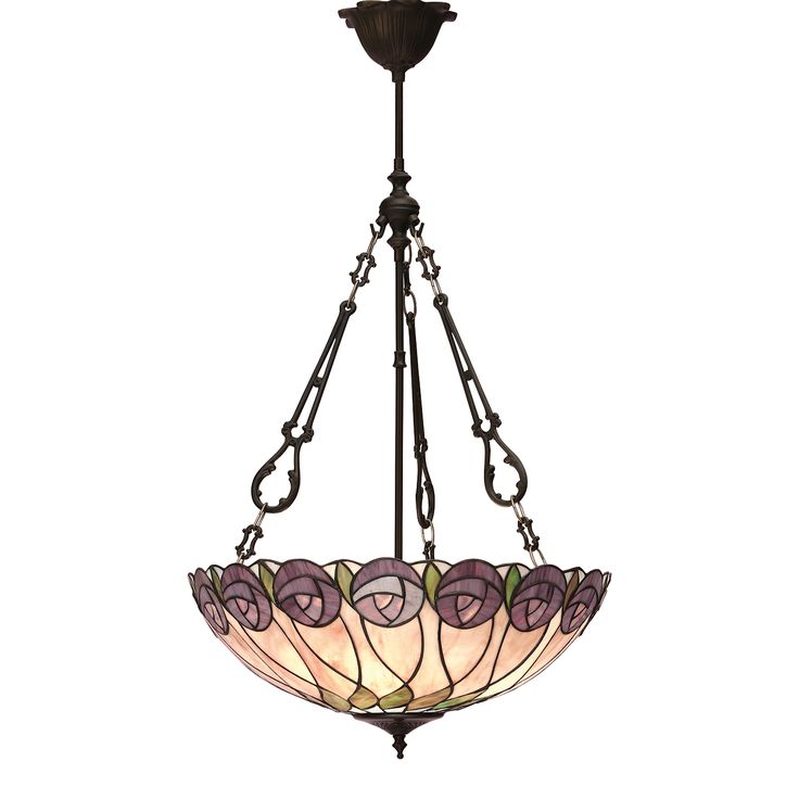 Hutchinson 64174 Tiffany Large Inverted 3 Light Pendant Style Glass Dark Bronze Paint With