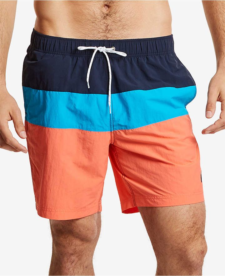a2d4689ba9 Nautica Men 18' Colorblocked Drawstring Swim Shorts in 2019 ...