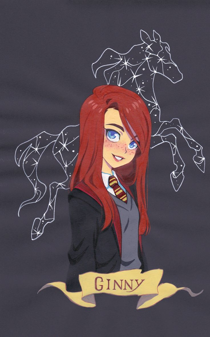 Ginny Weasley -- Gouache painting on colored paper