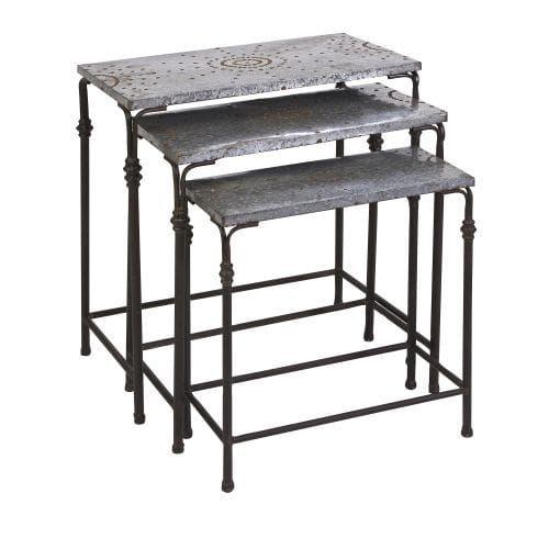 Imax Home 74232-3 Gilbert Galvanized Nesting Tables - Set of 3, Multi