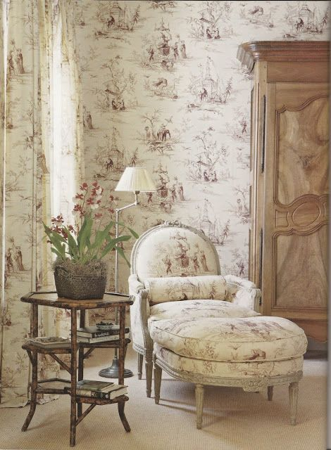 french country cottage French Country decorating brown and white toile