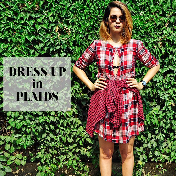 """Dress UP in Plaids"" Tartan Check Dress Trend from our Lovely Fashion Blogger Akanksha Redhu! Thanks Akansha Redhu for liking our new collection. Click to get the look www.sbuys.in  #sbuys #chechdress #tartandress #womenswear #latesttrends #newcollection"