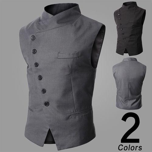2016 New Arrival Men's Slim Fit Vest Fashion Suit Vest Simple Business Vest Black/Gray Size:M-XXL Free Shipping