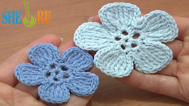 Crochet 5-Petal Flat Flower of Tall Complex Stitches Tutorial 49 Part 2 ...