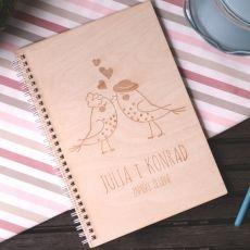 Drewniany notatnik personalizowany B5 PTASZKI idealny na urodziny