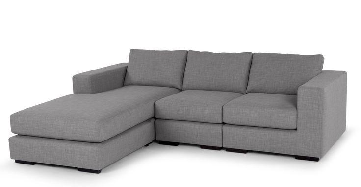 Mortimer 4 Seater Modular Corner Sofa, Shadow Slate Grey