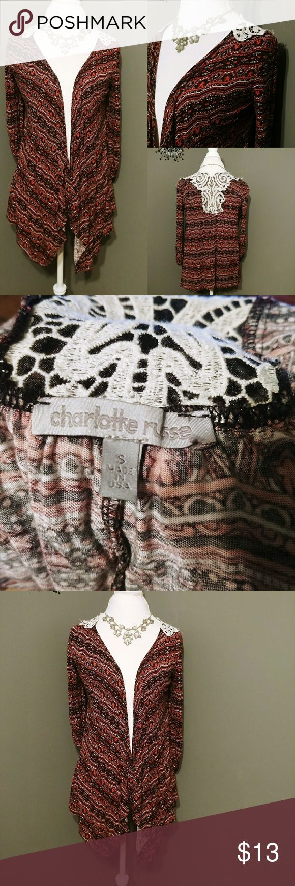 Charlotte Russe Open Waterfall cardigan Tribal print lace details Charlotte Russe Sweaters Shrugs & Ponchos