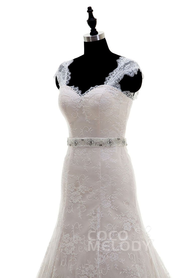 Fashion Straps Train Lace Ivory/Veiled Rose Sleeveless Wedding Dress with Beading LWZT15042