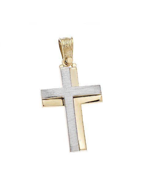 Σταυρός Τριάντος Χρυσός 14Κ Δίχρωμος Αναφορά 021301 Ένας βαπτιστικός σταυρός του οίκου Τριάντος , για αγόρι ή για άνδρα κατασκευασμένος από Χρυσό 14Κ σε κίτρινο και λευκό χρώμα ο οποίος μπορεί να συνδυαστεί με αλυσίδα Χρυσή 14Κ ή με δερμάτινο κορδονάκι στο χρώμα της αρεσκείας σας.