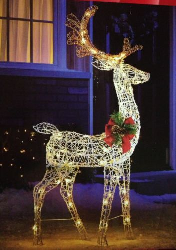 52 Standing Lighted Deer Christmas Pre Lit Buck Outdoor Yard Lawn Decoration Xmas Decorations And