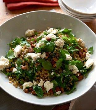 Freekah salad with fetta & toasted almonds | Karen Martini