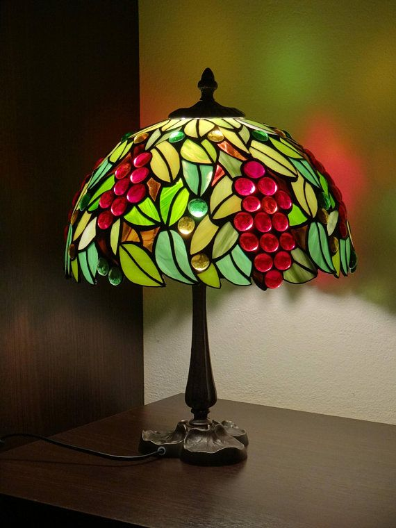 Blatter Tiffany Stil Lampe Schreibtisch Lampe 12 Etsy Red Lamp Shade Tiffany Style Lamp Lamp