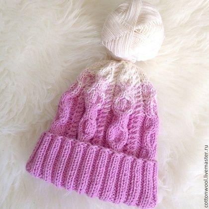 Шерстяная шапочка розово-сиреневого цвета с подворотом - розовый,однотонный
