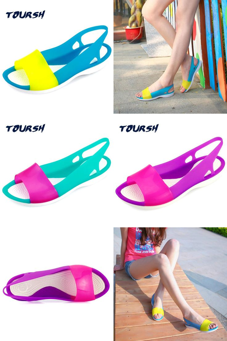 [Visit to Buy] TOURSH Women Sandals Summer Shoes Breathable Flat Jelly Sandals For Women Jelly Shoes Open Toe Candy Colors Sandalias Mujer 7 #Advertisement