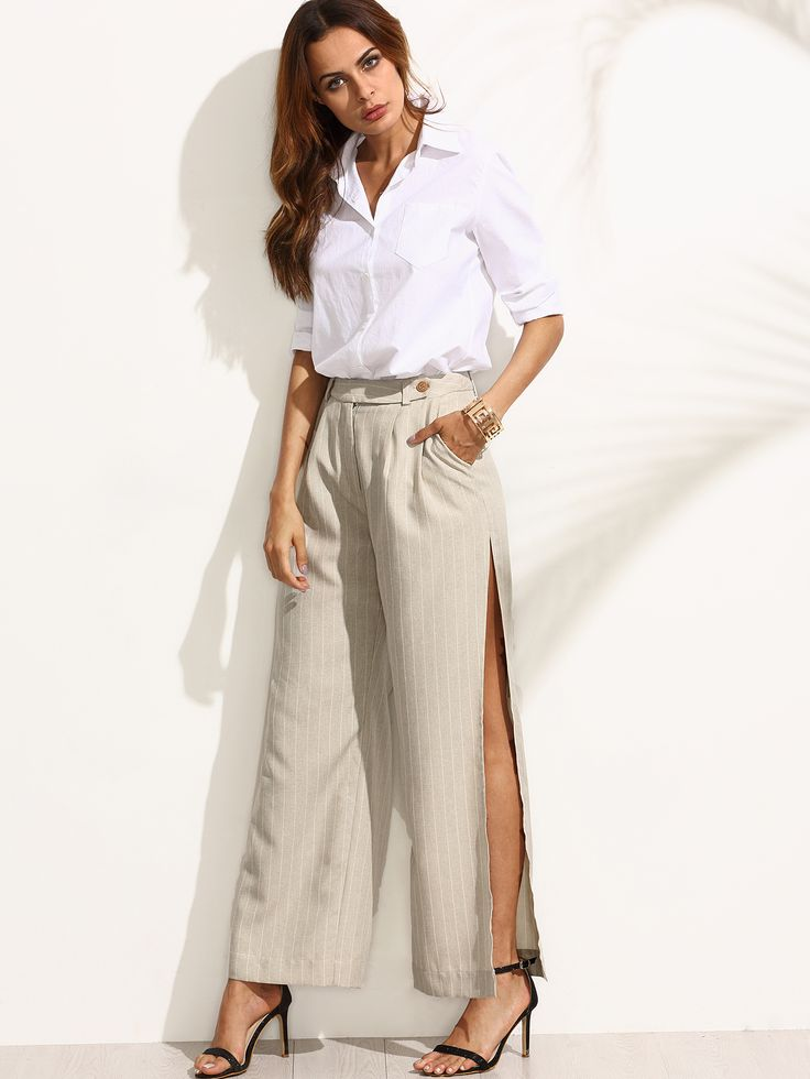 Shop Striped Pocket Split Wide-leg Pants online. SheIn offers Striped Pocket Split Wide-leg Pants & more to fit your fashionable needs.